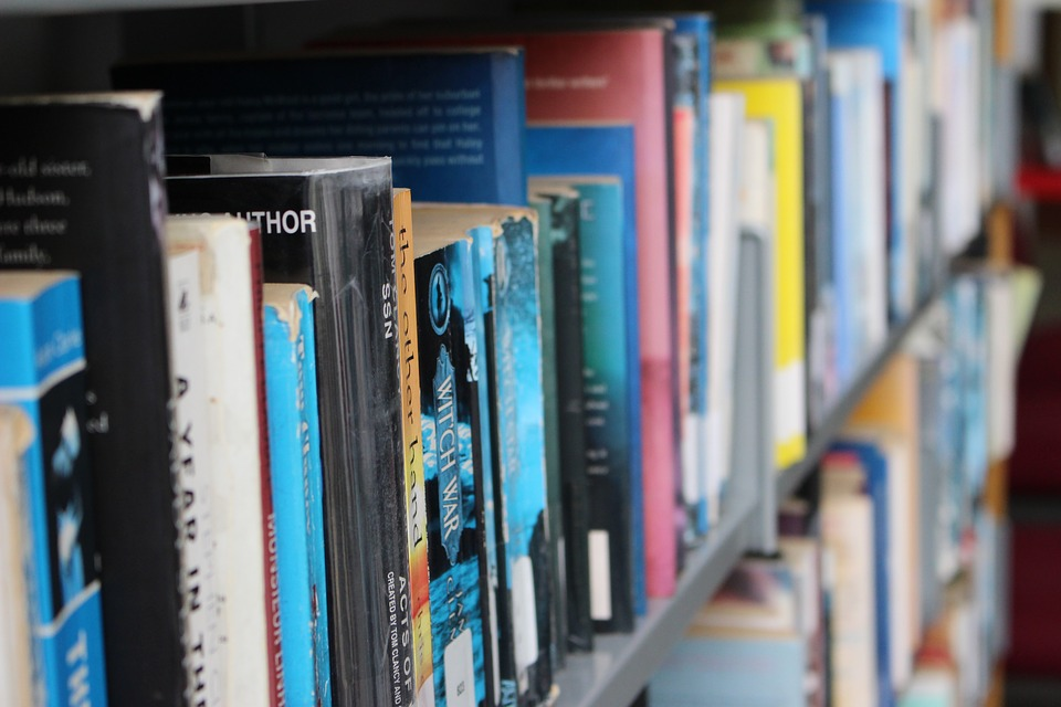 decorative shot of paperback books on a shelf