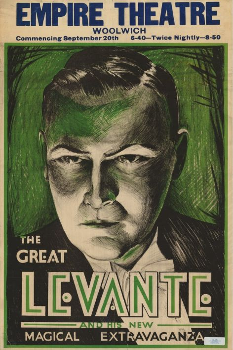 sepia and green 1920s poster of the magician the Great Levante, Empire Theatre Woolwich