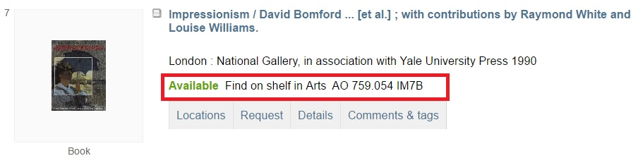 Screenshot of State Library Victoria catalogue search for 'impressionism' showing location of book on shelves