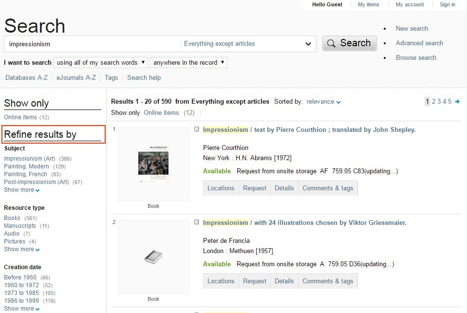 Screenshot of search results for 'impressionism' on State Library Victoria catalogue with 'refine results by' filter highlighted