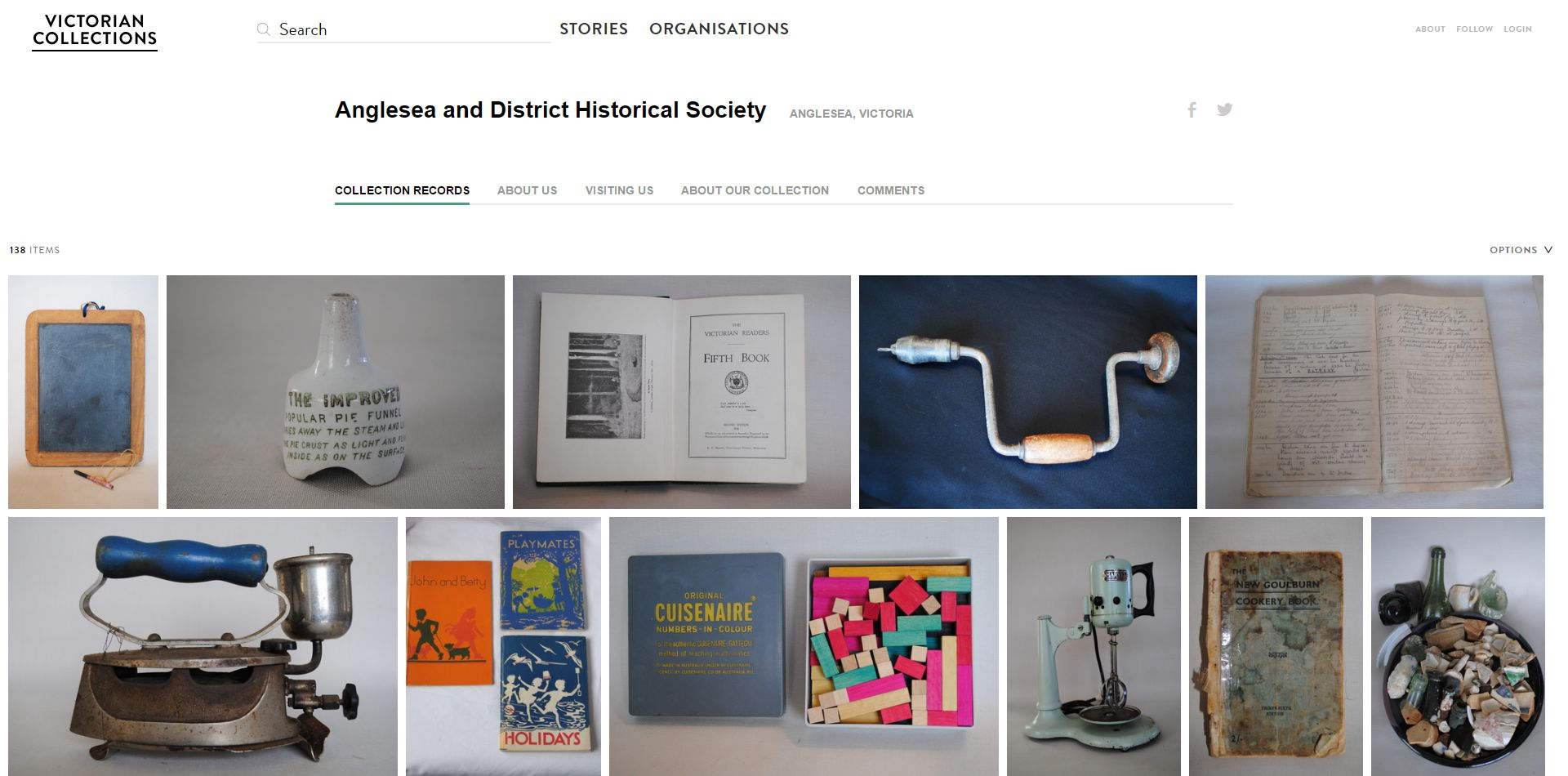 Screenshot of varied items displayed on Victorian Collections website including books and cuisinaire rods