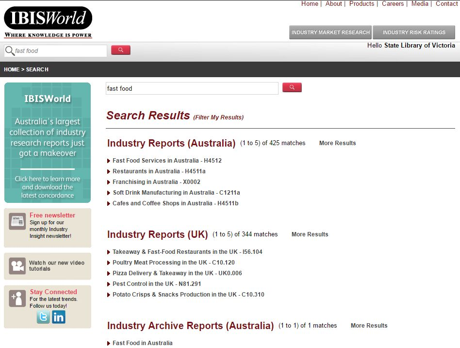Screenshot of IBIS Industry Reports webpage showing results for the search 'fast food'