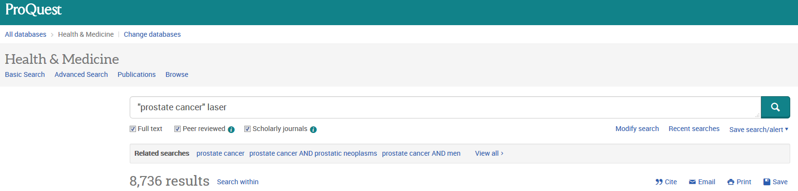 Screenshot of Proquest website showing results of search for 'prostate cancer laser'