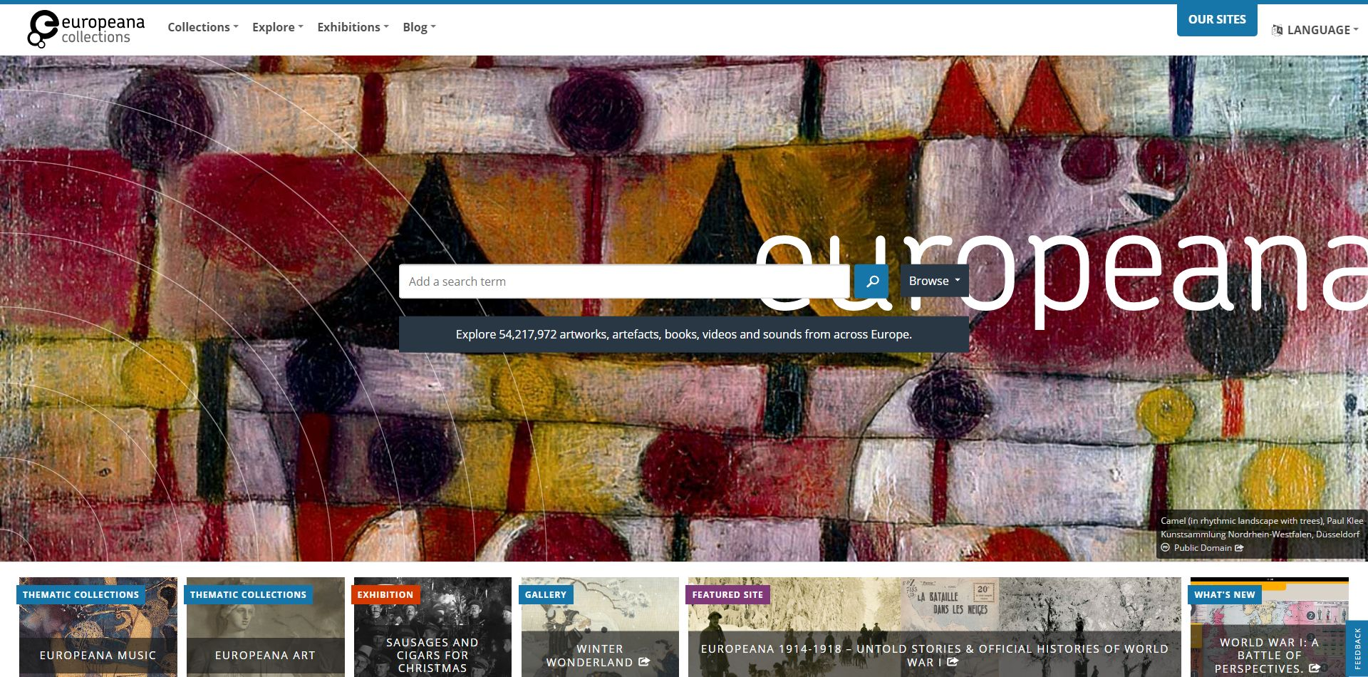 Screenshot of Europeana website home page with search box in the centre of the page